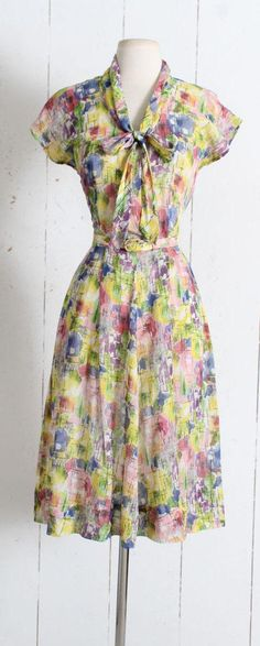 Vintage 1940s Dress vintage 40s Gay Gibson cotton abstract