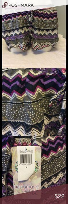 NWT Harmony and Havoc Shorts NWT size medium shorts.  Multi design, purple, gray and pink. Elastic waist with a drawstring. Harmony & Havoc Shorts