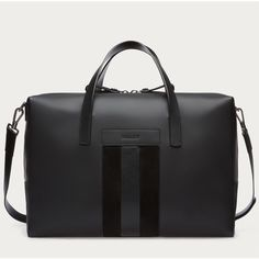 Bally BARWICK Men's leather weekender in charcoal (6.560 BRL) ❤ liked on Polyvore featuring men's fashion, men's bags, bally mens bag, mens leather weekend bag, mens overnight bag, mens weekender bag and mens leather weekender