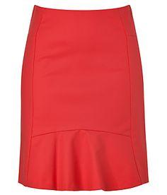 TARA JARMON Lipstick Red Cotton-Stretch Mini-Skirt