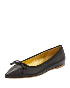 Leather Cap-Toe Bow Skimmer