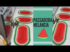 Passadeira melancia parte l - YouTube Plastic Cutting Board, The Creator, Rose, Youtube, Kitchen Playsets, Crochet Carpet, Floor Mats, Colorful Rugs, Oval Rugs