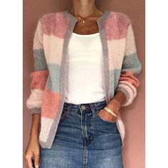 FloryDay / New Year Sale Jul Round Neckline Color Block Casual Loose Shift Sweaters Chunky Knit Cardigan, Loose Sweater, Latest Fashion For Women, Latest Fashion Trends, Asymmetrical Sweater, Pulls, Knitwear, Ideias Fashion, Sweaters For Women