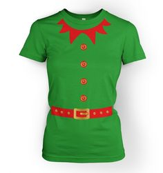 Elf Costume (Red Detail) womens t-shirt Elf Costume, T Shirt Costumes, Ugly Sweater, Ugly Christmas Sweater, Christmas Tops, Xmas, Christmas Photo Booth, Elf T Shirt, Elf Clothes