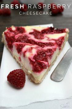 Light Fresh Raspberry Cheesecake