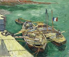 Van Gogh, Quay with Men Unloading Sand Barges, August 1888. Oil on canvas, 55.1 x 66.2 cm. Museum Folkwang, Essen