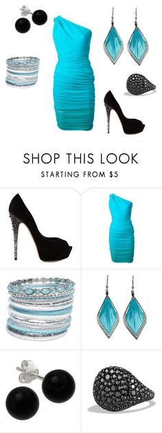 """""""Dinner"""" by l-kat-w ❤ liked on Polyvore featuring Casadei, Versace, Wet Seal, Bridge Jewelry and David Yurman"""