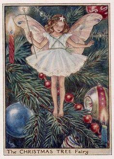 Christmas Tree Flower Fairy Vintage Print by FlowerFairyPrints