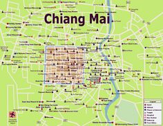 Chiang Mai Thailand Map - This is a great city. This brought back many great memories. Thailand Tourism, Thailand Vacation, Thailand Travel, Laos, Railay Beach Krabi, Bangkok, Top 10 Restaurants, Chiang Mai Thailand, Tourist Map