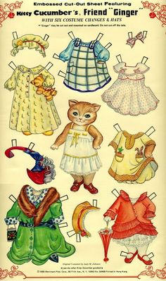 Kitty From Finland, printable Paper Dolls Printable Images, Paper Art, Paper Crafts, Art Origami, Paper Dolls Printable, Paper Animals, Laurel Burch, Vintage Paper Dolls, Paper Toys