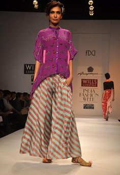 Stripes + luscious colors and pattern. Anupama Dayal - Wills India Fashion Week A/W 2012 India Fashion Week, Asian Fashion, Tokyo Fashion, Fashion Weeks, London Fashion, Street Fashion, Indian Look, Indian Ethnic Wear, Indian Dresses