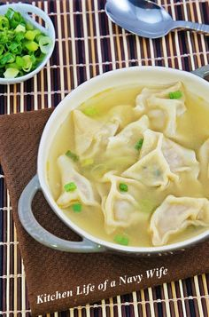 The Kitchen Life of a Navy Wife: Wonton Soup. The wonton filling sounds really, really good!