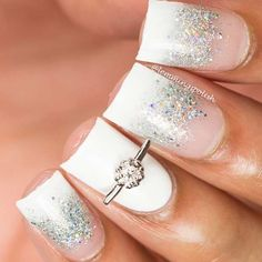 White and Silver Glitter Wedding Nails