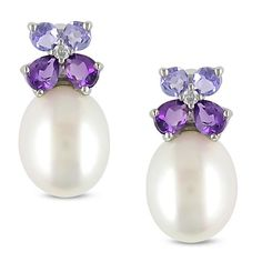 Miadora Silver Pearl -gemstone and Diamond Earrings