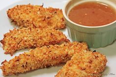 Coconut Chicken - tastes fried but it's baked.  A delicious, clean, and cheaper alternative to coconut shrimp.