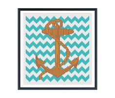 Hey, I found this really awesome Etsy listing at https://www.etsy.com/listing/127001226/anchor-with-teal-chevron-cross-stitch