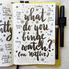 What do you binge watch on Netlix? #journal #artjournal #hobonichi #planner #diary #notebook #filofax #mtn #midori #travelersnotebook #midoritravelersnotebook #scrapbooking #stationery #pens #doodles #doodling #type #typography #letters #lettering #handwriting #handlettering #calligraphy #moderncalligraphy #brushpens #brushlettering