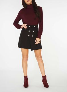 Womens Black Wrap Button Mini Skirt- Black