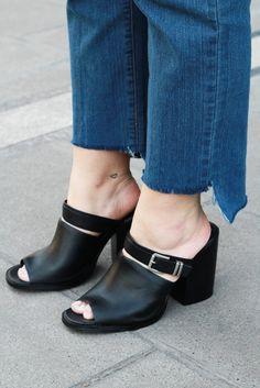 Raw hem diy + mules shoes | Golden Strokes