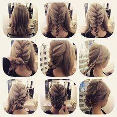 Chignon avec trois tresses africaines pour des cheveux mi-long minimum #braid