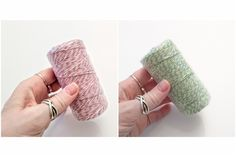 Light Pink or Mint Green cotton twine, you choose color - each roll is about 100 meters (approx 109 yards). Perfect for crafts and packaging. Textured Yarn, Bakers Twine, Plant Illustration, Cotton Rope, Green Cotton, Mint Green, Wrapping, Fiber, Farmhouse