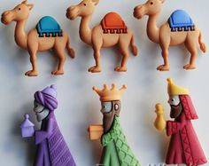 TRES reyes Navidad Natividad Reyes Magos bebé camello Jesús vestido botones