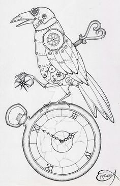 Steampunk Coloring Page. Steampunk Clockwork Raven WIP by EpHyGeNiA.deviantart.com on @DeviantArt