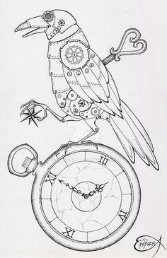 Steampunk Coloring Page. Steampunk Clockwork Raven WIP by EpHyGeNiA.deviantart.com on @DeviantArt