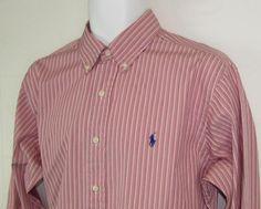 Ralph Lauren Stripe Pony Shirt Classic Fit Button Down Collar 100% Cotton 16 #RalphLauren