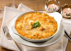 Vispannetje met begamelle zonder boter en weinig melk, met pasta en boontjes