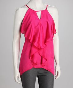 Love this Panitti Fuchsia Keyhole Sidetail Sleeveless Top by Panitti on #zulily! #zulilyfinds