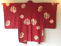 Vintage Japanese Kimono Haori Jacket Silk red kamon koyuki