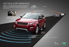 Jaguar Land Rover unveils pothole detection technology. Data on road conditions is collected by vehicle sensors and can be shared via the cloud
