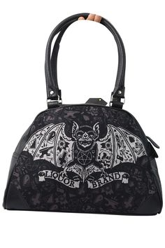 Liquorbrand Tat Bat faux-leather bowler purse is the edgy gothic accessory that shows your wild side. This bag features a vampire bat carrying a tattoo banner that reads LIQUORBRAND, surrounded by got