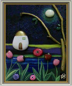 Chiarore di luna -Painted Stones di Rosaria Gagliardi