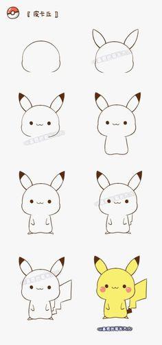 How to draw pikachu! how to draw a Chibi Pikachu. Cute Easy Drawings, Kawaii Drawings, Doodles Bonitos, Cute Doodles, Cute Pokemon, Pokemon Pokemon, Pokemon Fusion, Pokemon Cards, Step By Step Drawing