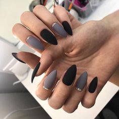 Make an original manicure for Valentine's Day - My Nails Grey Matte Nails, Matte Nail Art, Acrylic Nails, Black Nail, Nail Art For Kids, Cool Nail Art, Nail Designs Spring, Gel Nail Designs, Hot Nails