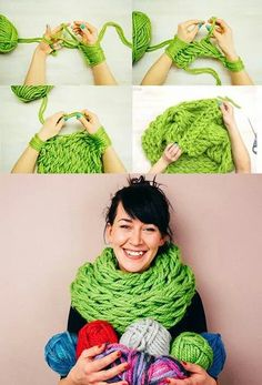 Arm knitting scarf