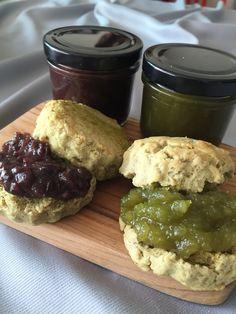 Matcha scones with red bean & apple-matcha jam