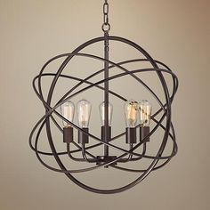 "Ellery 24 3/4"" Wide 5-Light Bronze Sphere Foyer Pendant - #8G444 