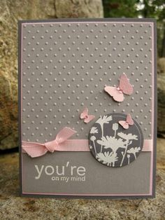10/9/2012; catcrazy at Splitcoaststampers; Upsy Daisy stamp set; MS Butterfly punch; Swiss Dot CB EF; Paper: Basic Gray, Going Gray, Pink; Color Box Frost White ink