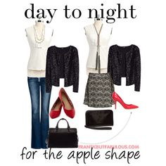 """Day to night for the apple shape"" by franticbutfabulous on Polyvore  #UndertheGunnAlternatingLooks"