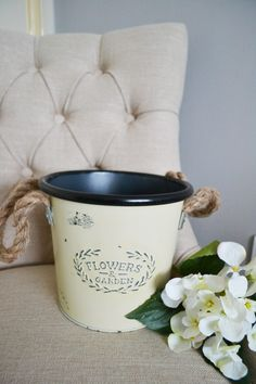 Flowers Tin Bucket Tin Buckets, Garden Gifts, Planter Pots, Sweet Home, Shed, Shabby, Mugs, Tableware, Flowers