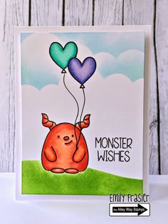 Today i'm sharing a card featuring new TAWS sets called Oogles , and Cake Day . Oogles is the cutest monster stamp set E. Cake Day, Monster Cards, Cute Monsters, Kids Cards, Pinwheels, Clear Stamps, Homemade Cards, Balloons, Card Making