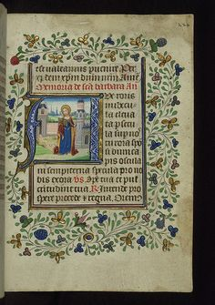 Illuminated Manuscript, Book of Hours, St. Barbara, Walters Manuscript W.168, fol. 220r by Walters Art Museum Illuminated Manuscripts, via F...