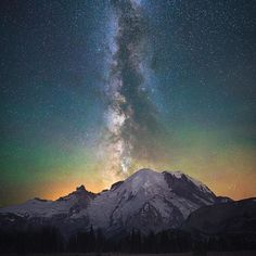 """""""Rise"""" Mt Rainier aligned with the Milky Way during a beautiful clear night in Washington."""