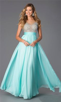 Long Aqua Sequined Sheer CD-1112 Prom Dresses With High Neck