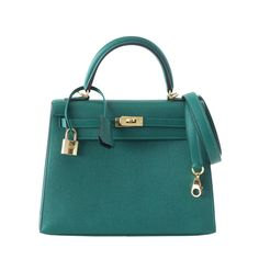 HERMES KELLY 28 bag Sellier MALACHITE gold hardware epsom | From a collection of rare vintage top handle bags at https://www.1stdibs.com/dealers/mightychic/