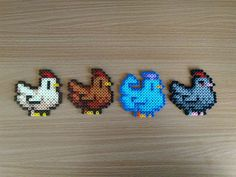 I made the Stardew chickens with Hama beads for my friend's birthday! - I made the Stardew chickens with Hama beads for my friend's birthday! Easy Perler Bead Patterns, Melty Bead Patterns, Perler Bead Templates, Diy Perler Beads, Perler Bead Art, Peyote Patterns, Easy Perler Beads Ideas, Hama Beads Minecraft, Quilt Patterns