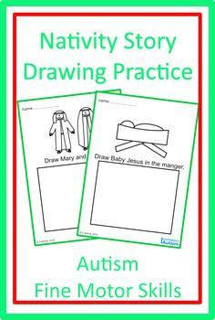 Looking for a Nativity Story Drawing Practice activity for your students with Autism? Download these Fine Motor Skills printables today from Curriculum For Autism